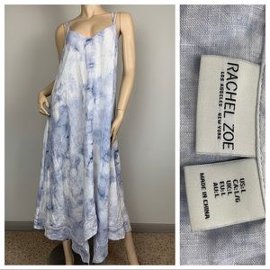 Rachel Zoe Tie Dye Maxi Dress Hankerchief Hem